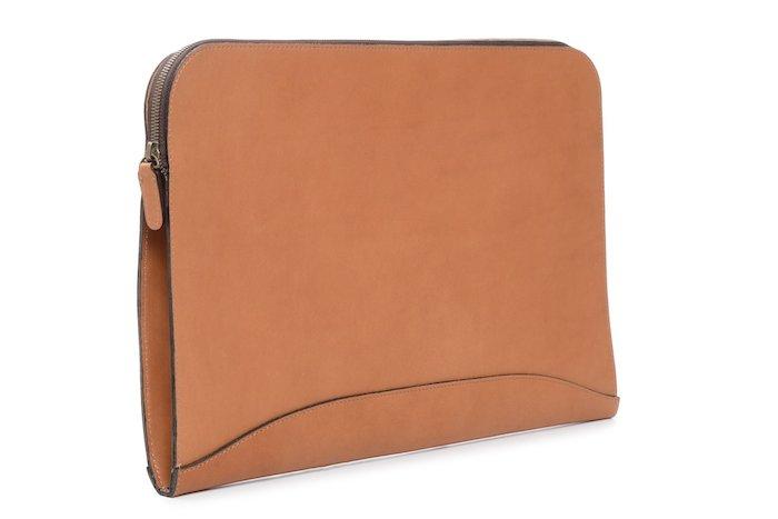 Grant: Zippered Leather Envelope - Mahogany