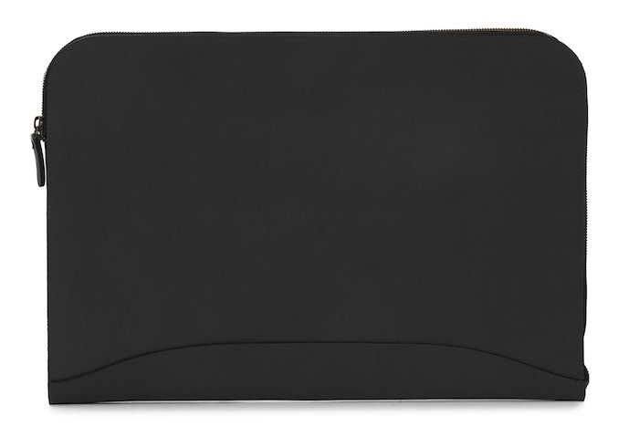 Grant: Zippered Leather Envelope - Black