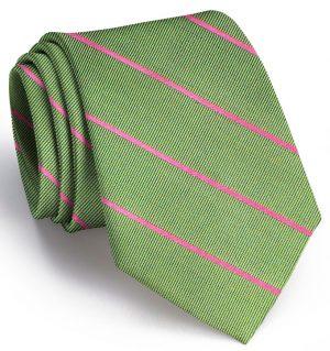 Sheffield Stripe: Tie - Olive/Pink