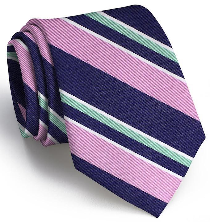 Wayfair Stripe: Tie - Navy/Pink