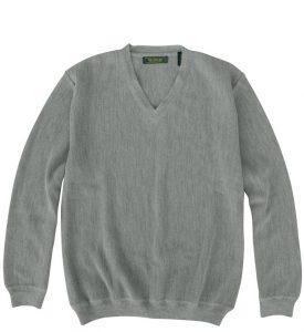 Sweater: V Neck - Gray