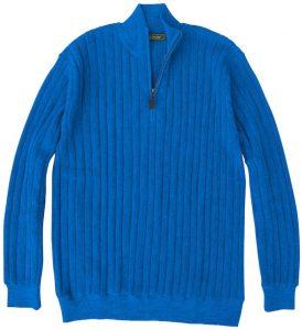 Sweater: Quarter Zip - Ocean Blue