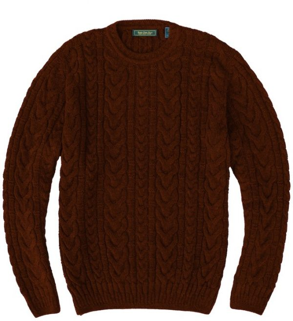 Sweater: Cable Knit - Dark Brown