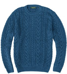 Sweater: Cable Knit - Ocean Blue