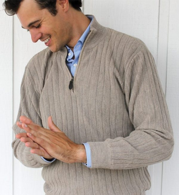 Sweater: Quarter Zip - Sandstone