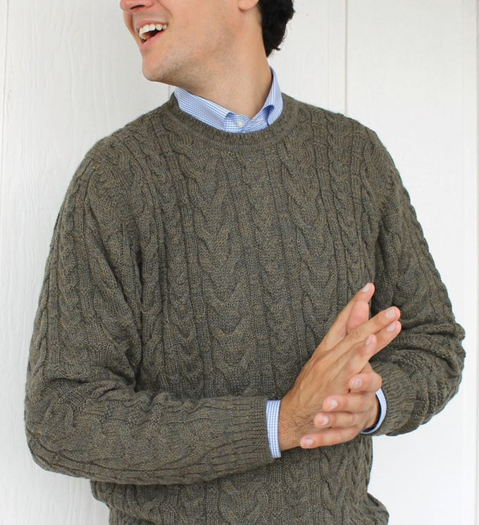 Sweater: Cable Knit - Olive