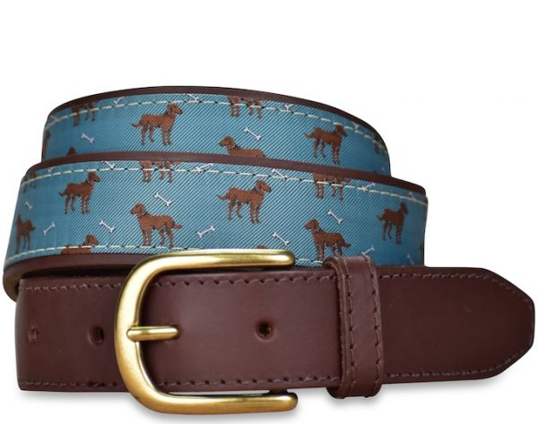 Chocolate Labradors: Pedigree English Woven Belt - Green