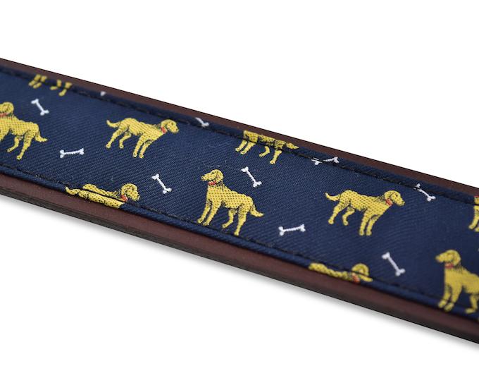 Yellow Labradors: Pedigree English Woven Belt - Navy
