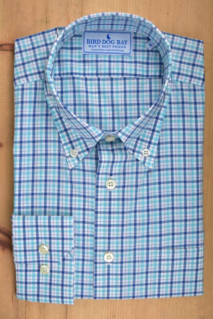 Brampton: Woven Cotton Shirt - Aqua/Blue