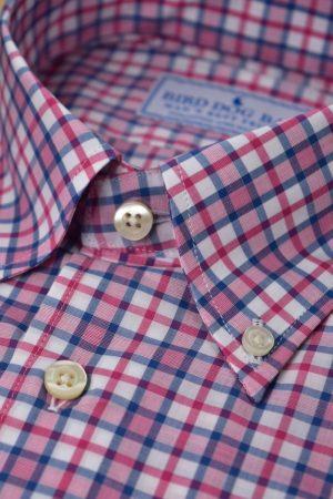 Stratford: Woven Cotton Shirt - Fuchsia/Blue