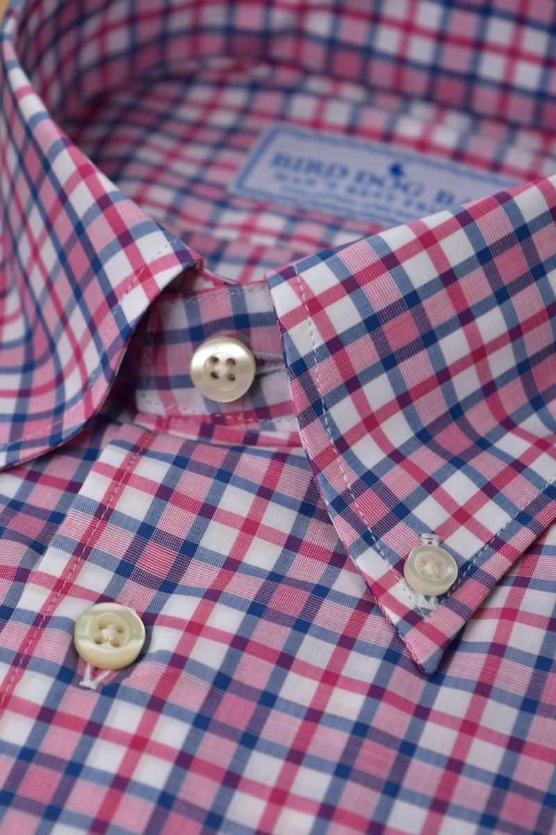 Stratford: Woven Cotton Shirt - Fuchsia/Blue