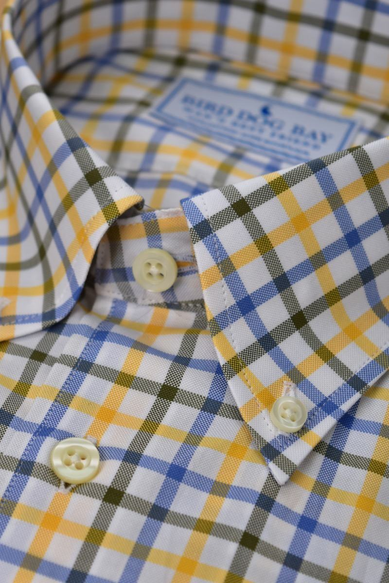 Hopton: Woven Cotton Shirt - Yellow/Blue