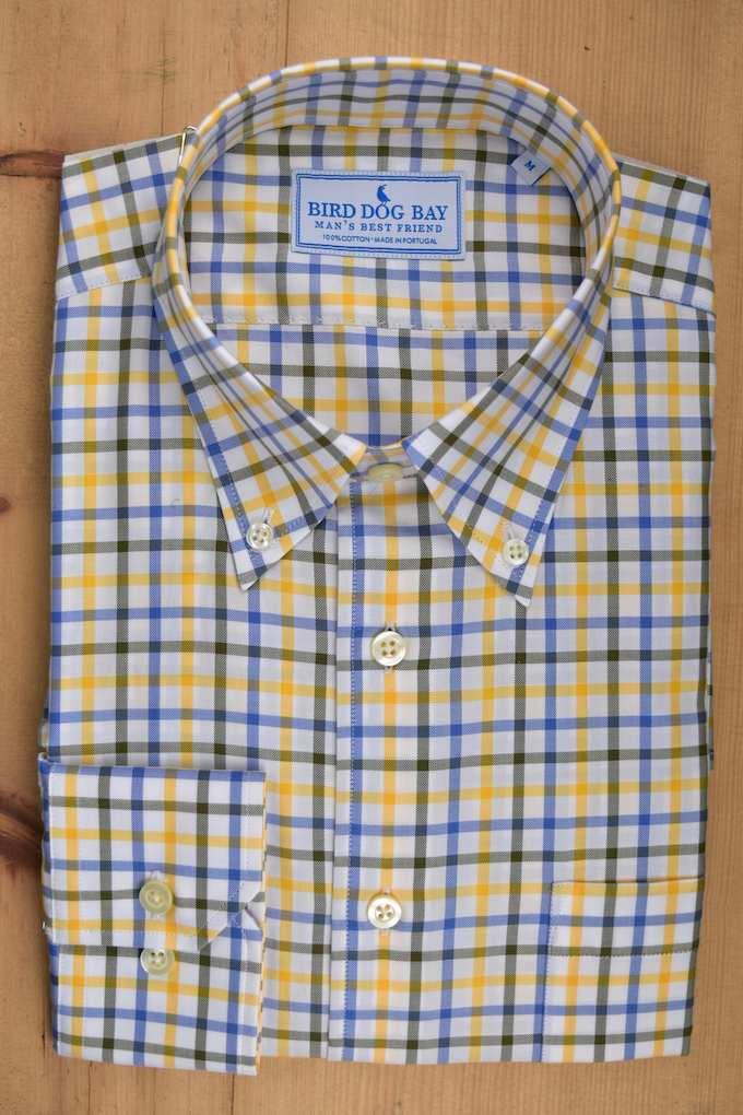 Hopton: Woven Cotton Shirt - Yellow/Blue