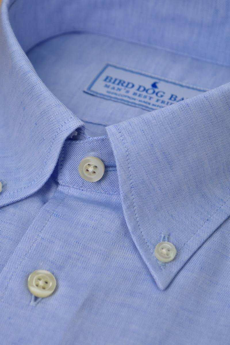 Montgomery: Linen/Cotton Blend Shirt - Blue