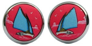 Catboat Race: Cufflinks - Coral