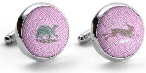 Tortoise & Hare: Cufflinks - Pink