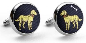 Yellow Labs: Pedigree Cufflinks - Navy