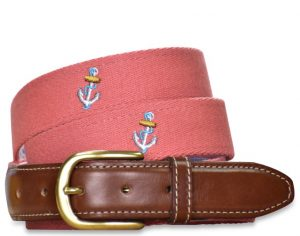 Ahoy: Embroidered Belt - Coral