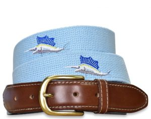 Marlin Magic: Embroidered Belt - Light Blue