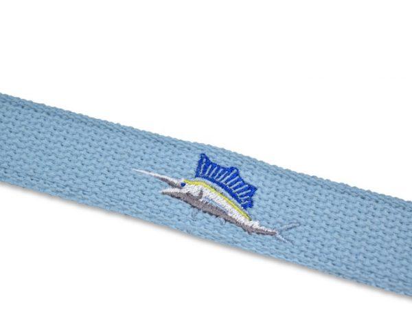Marlin Magic: Embroidered Belt - Light Blue
