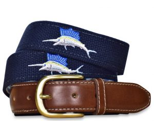 Marlin Magic: Embroidered Belt - Navy