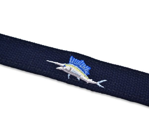 Marlin Magic: Embroidered Belt - Navy