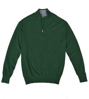 Royal Alpaca Sweater: Quarter Zip - Pine