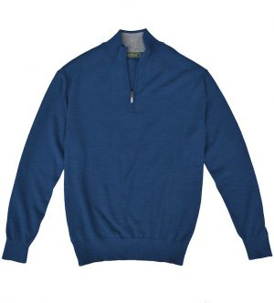 Royal Alpaca Sweater: Quarter Zip - Fathom