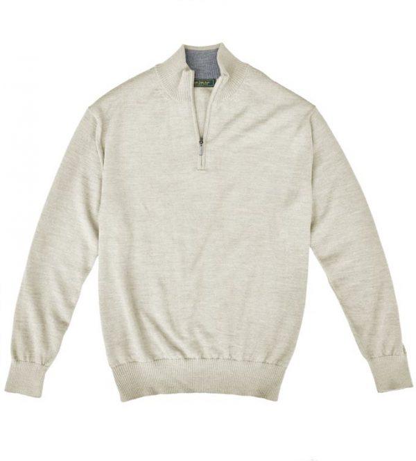 Royal Alpaca Sweater: Quarter Zip - Woodcock