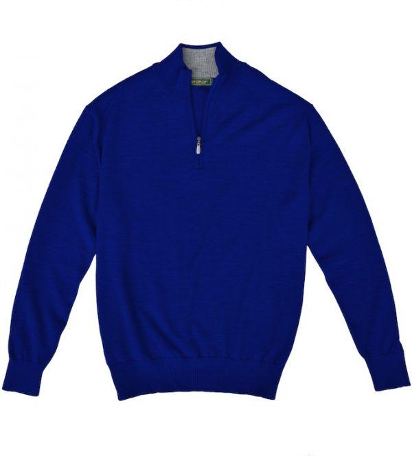 Royal Alpaca Sweater: Quarter Zip - Indigo