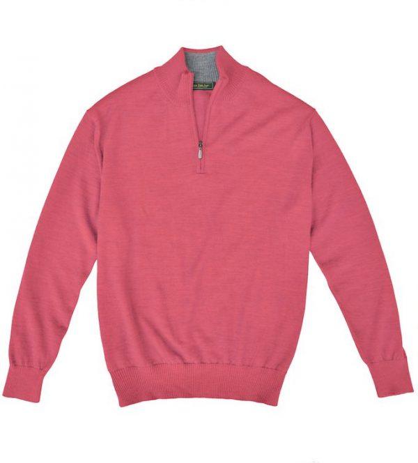 Royal Alpaca Sweater: Quarter Zip - Coral