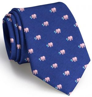Pink Elephants Club Tie: Extra Long - Navy