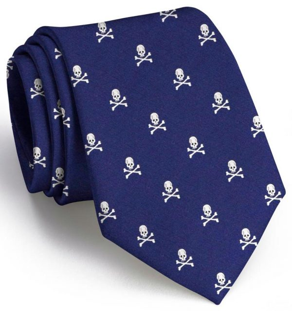 Skull & Crossbones Club Tie: Extra Long - Navy