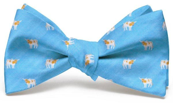 Longhorn Club Tie: Bow - Light Blue