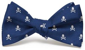 Skull & Crossbones Club Tie: Bow - Navy