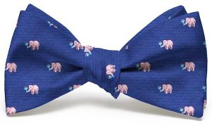 Pink Elephants Club Tie: Bow - Navy