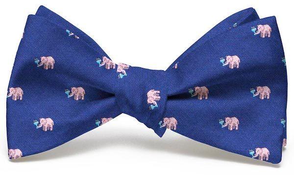 Pink Elephants Club Tie: Bow - Navy