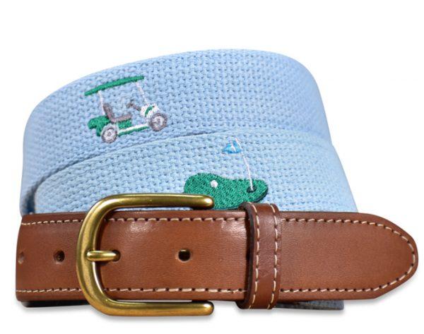 Sunday Drive: Embroidered Belt - Light Blue