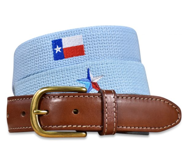 Stars Over Texas: Embroidered Belt - Light Blue