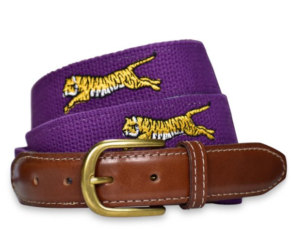 Tiger Tracks: Embroidered Belt - Purple