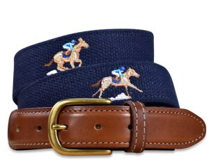 Home Stretch: Embroidered Belt - Navy
