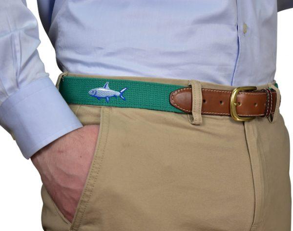 Pheasant Run: Embroidered Belt - Navy
