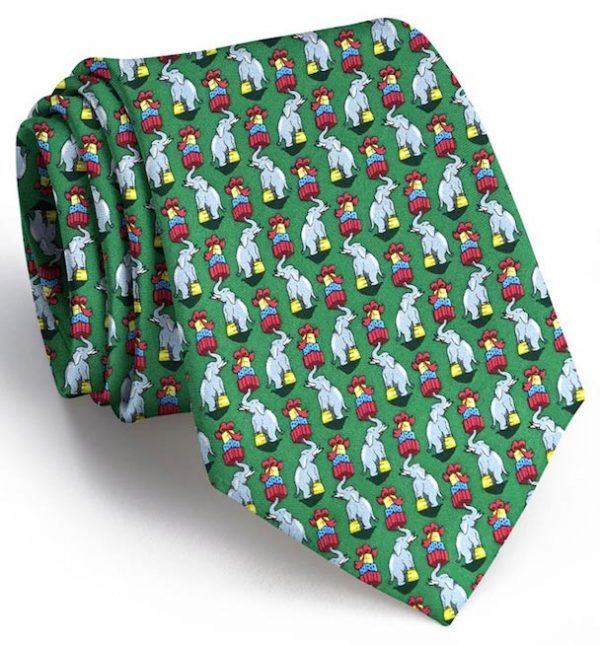 Holiday Elephants: Tie - Green