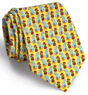 Holiday Elephants: Tie - Yellow