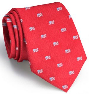 American Flag Club Tie: Extra Long - Red