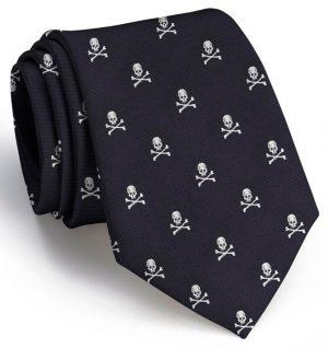 Skull & Crossbones Club Tie: Extra Long - Black
