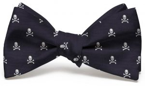 Skull & Crossbones Club Tie: Bow - Black