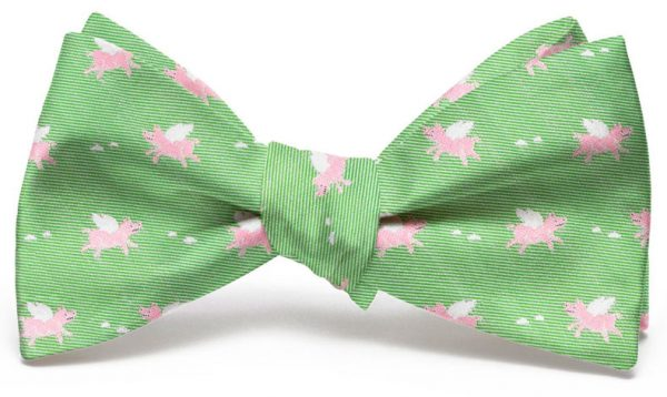 When Pigs Fly Club Tie: Bow - Lime