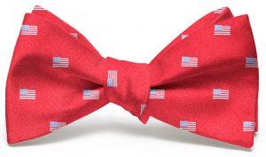 American Flag Club Tie: Bow - Red
