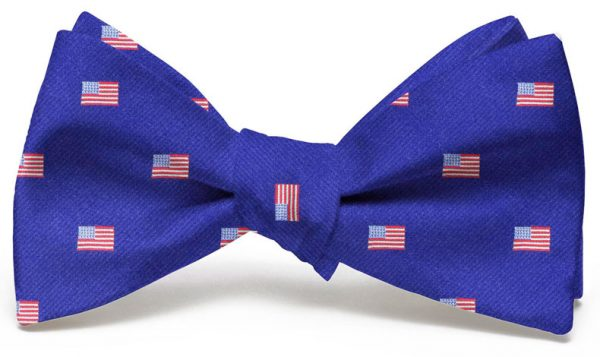 American Flag Club Tie: Bow - Mid Blue